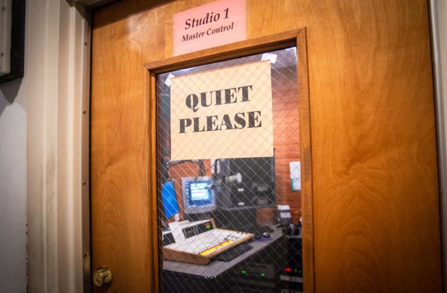 This is a close look at a soundproof door at a radio station.