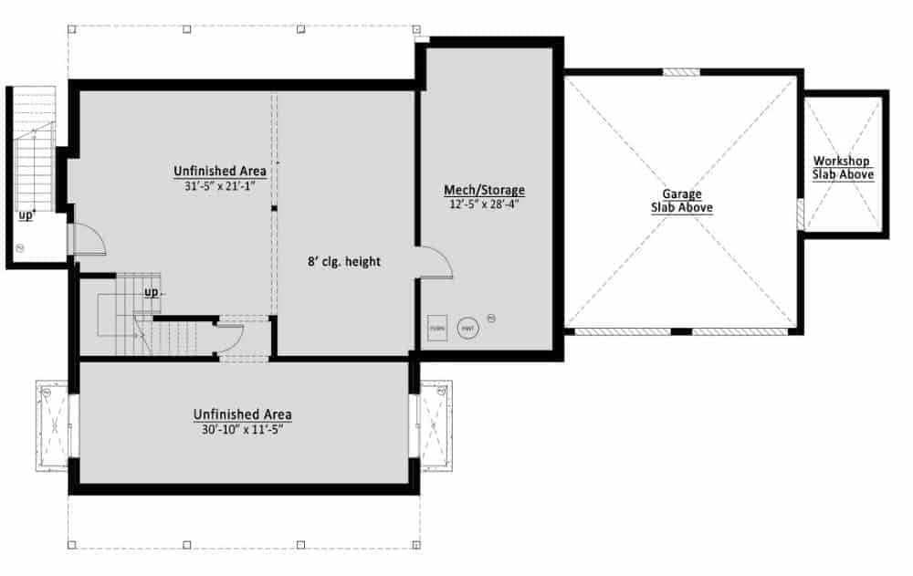Basement floor plan showing the unfinished spaces.