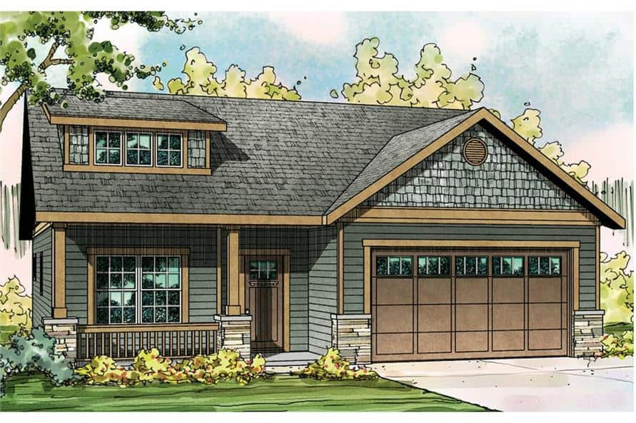 Front perspective sketch of the 3-bedroom two-story bungalow home.