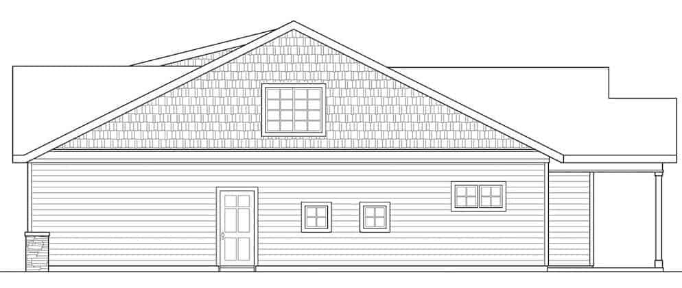 Right elevation sketch of the 3-bedroom two-story bungalow home.