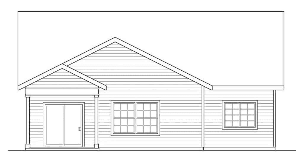 Left elevation sketch of the 3-bedroom two-story bungalow home.