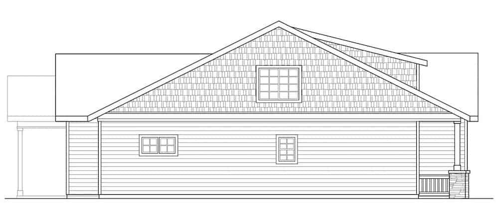 Rear elevation sketch of the 3-bedroom two-story bungalow home.
