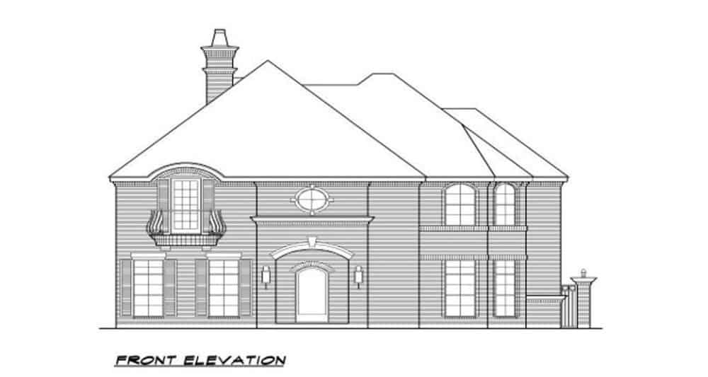 Front elevation sketch of the 3-bedroom two-story European-style home.