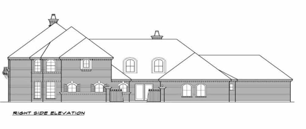 Right elevation sketch of the 3-bedroom two-story European-style home.