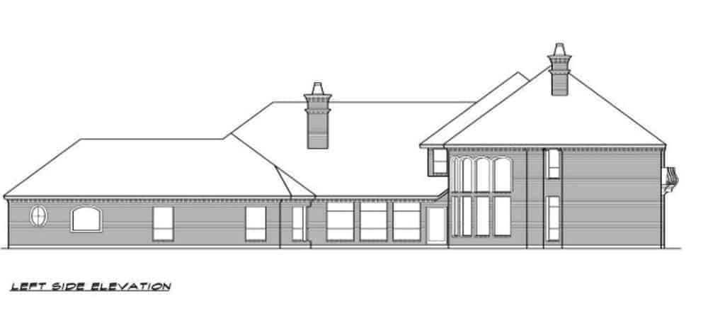 Left elevation sketch of the 3-bedroom two-story European-style home.