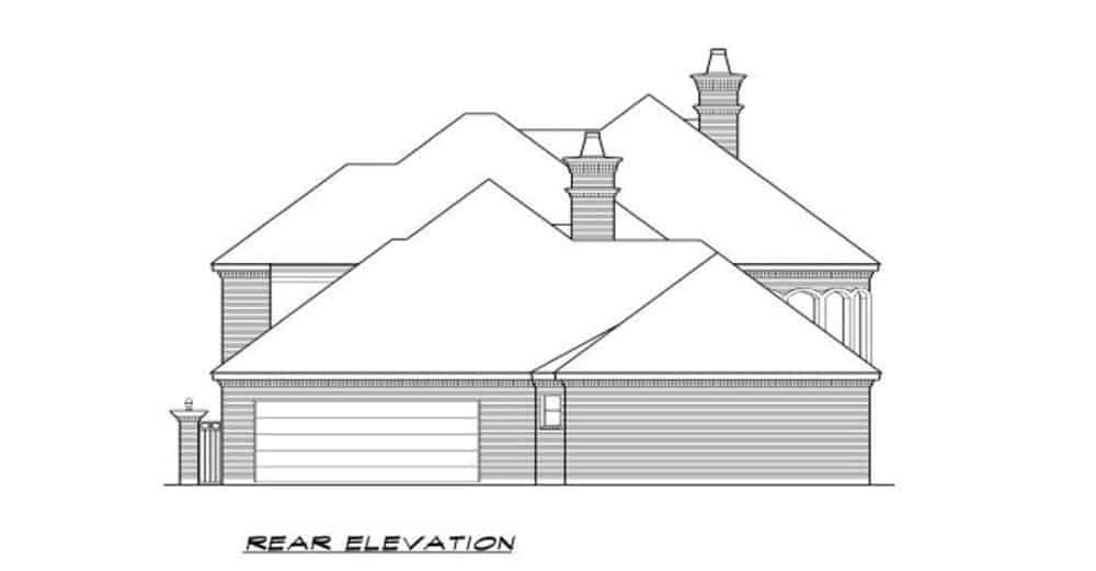 Rear elevation sketch of the 3-bedroom two-story European-style home.