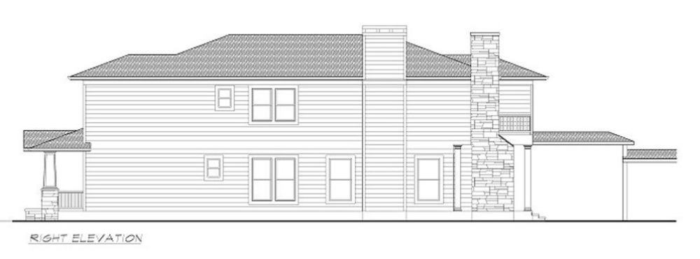 Right elevation sketch of the 3-bedroom two-story Southwestern home.