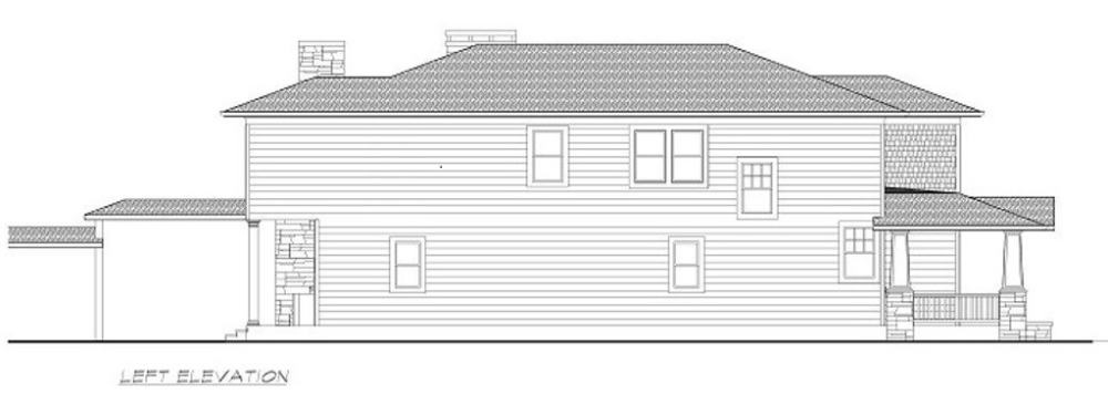 Left elevation sketch of the 3-bedroom two-story Southwestern home.