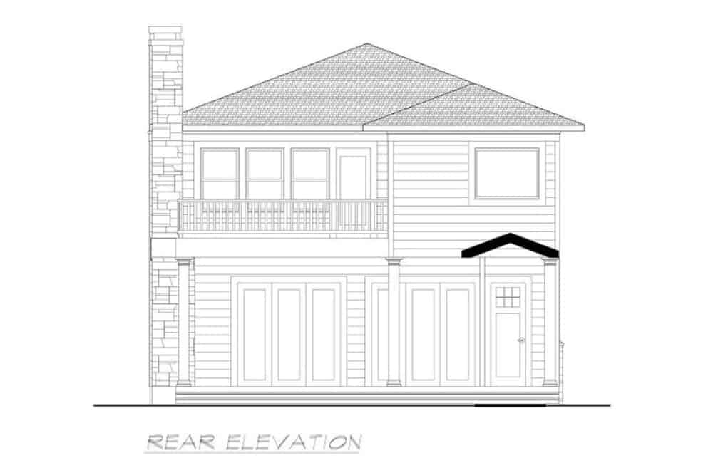 Rear elevation sketch of the 3-bedroom two-story Southwestern home.