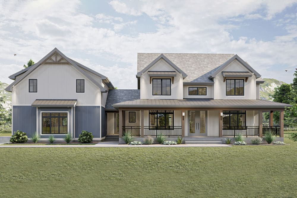 5-Bedroom Two-Story New American Farmhouse with Wraparound Front Porch and In-Law Suite Above Garage