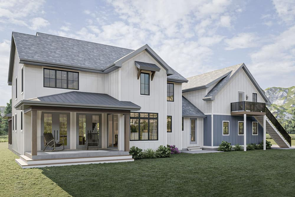Rear rendering of the 5-bedroom two-story New American farmhouse.