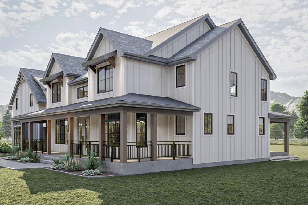 Right rendering of the 5-bedroom two-story New American farmhouse.