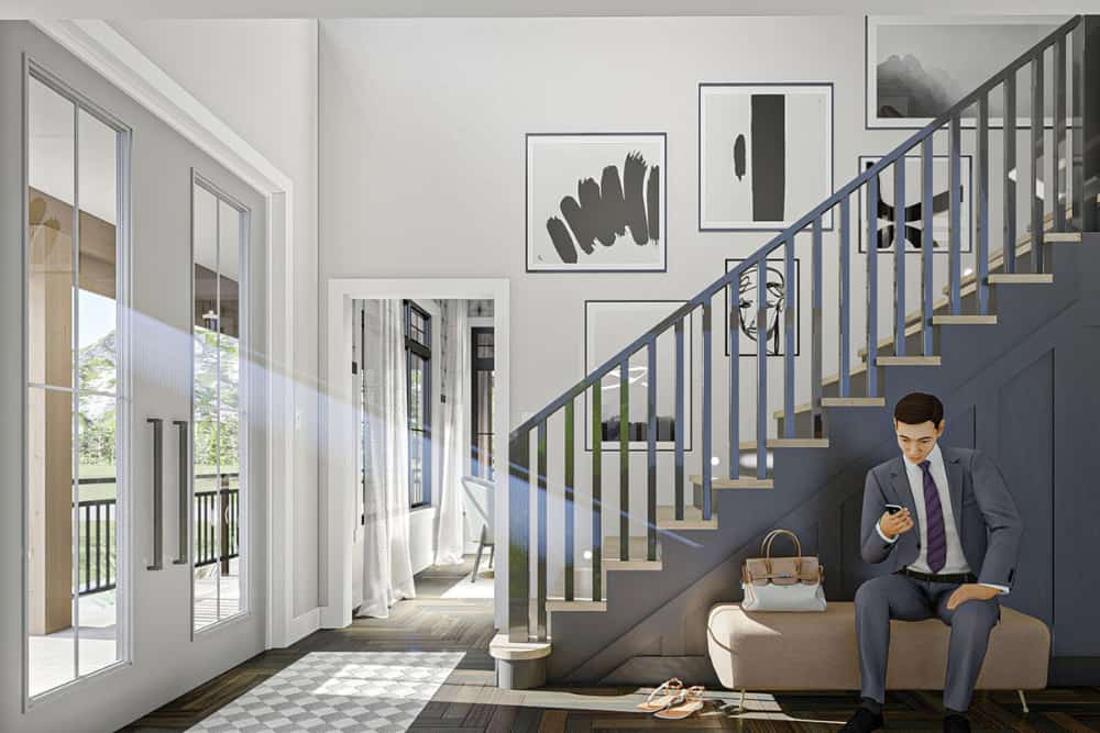Foyer with a french front door, a staircase, and an upholstered bench.