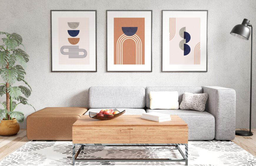 Example of our three-panel geometric style wall art printables