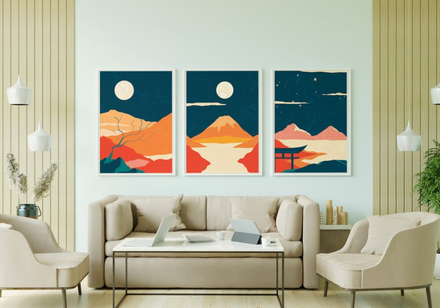 Mock-up example of our Japanese abstract wall art