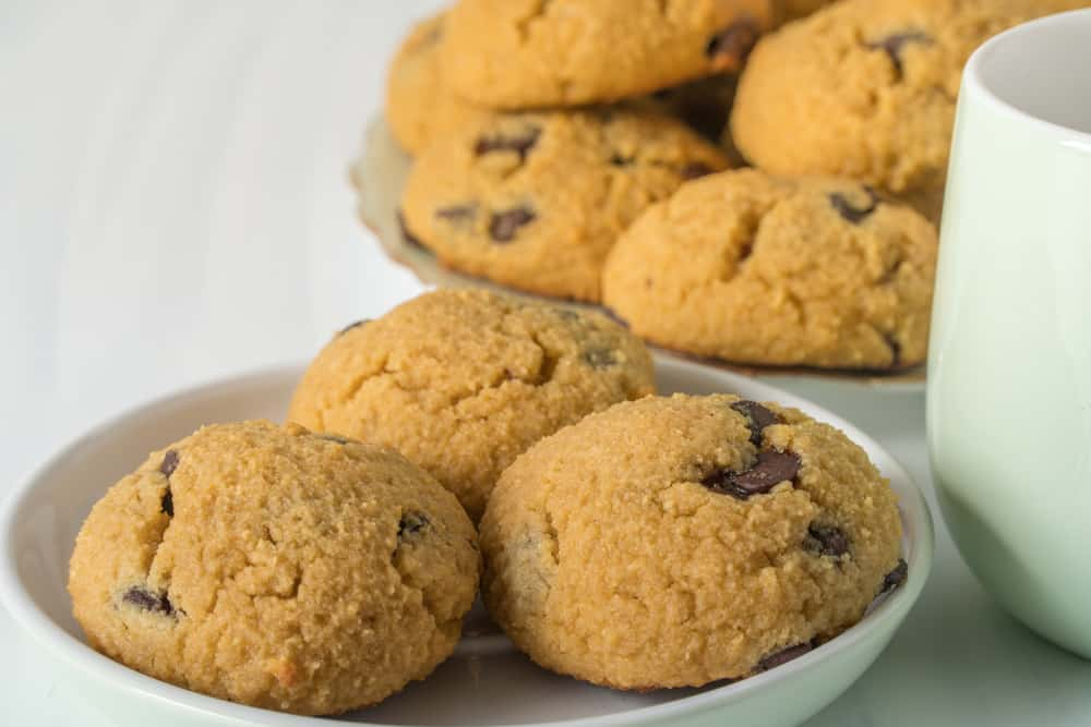 This is a close look at a batch of healthy coconut flour chocolate chip cookies.