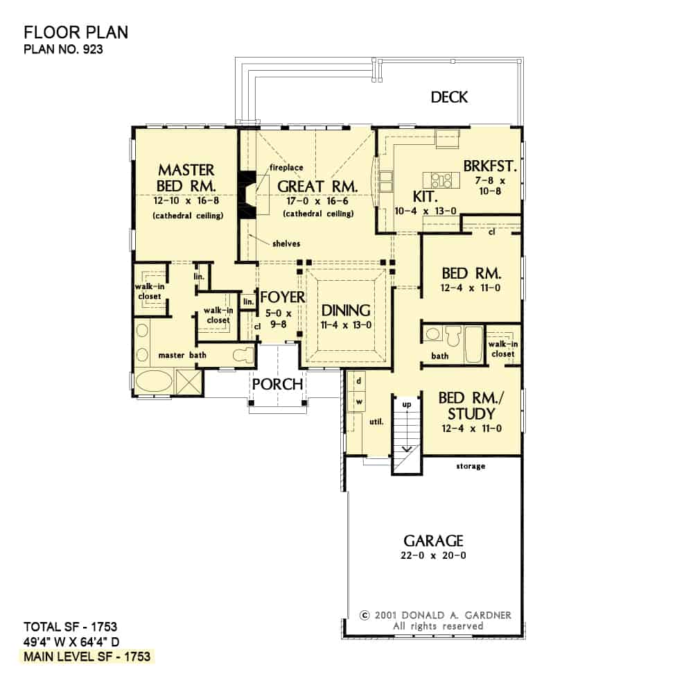 Main level floor plan of a 3-bedroom single-story The Colthorpe cottage with front porch, foyer, formal dining room, great room, kitchen, and breakfast nook that opens to the rear deck.