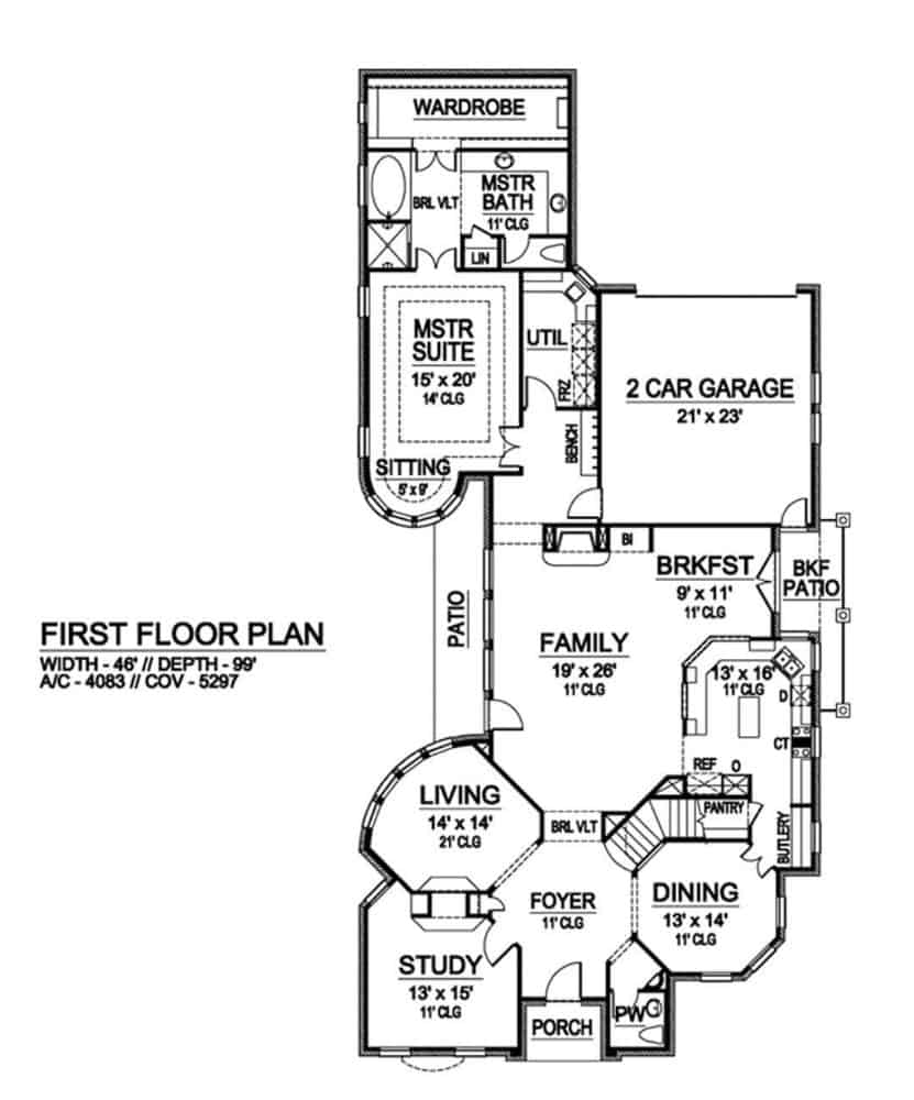 Main level floor plan of a 3-bedroom two-story European style home with foyer, living room, formal dining room, kitchen, breakfast nook, family room, study, primary suite, and mudroom leading to the garage.