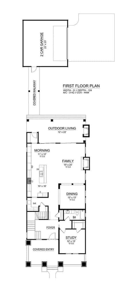 Main level floor plan of a 3-bedroom two-story Southwestern home with foyer, study, formal dining room, kitchen, morning area, family room, and outdoor living.
