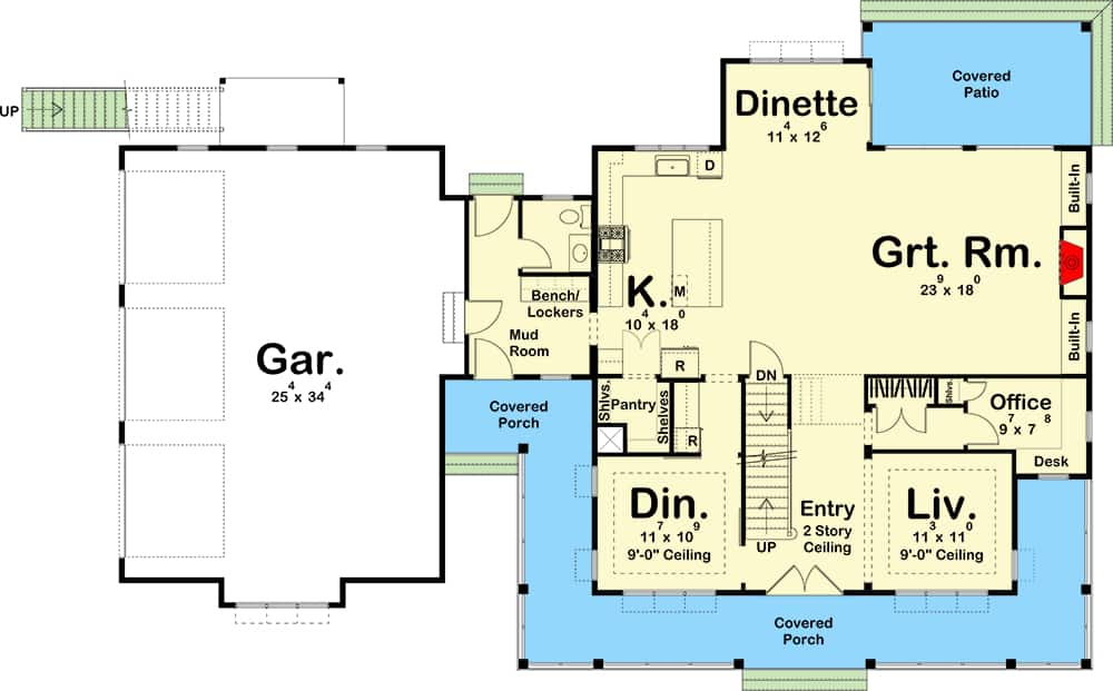 Main level floor plan of a 5-bedroom two-story New American farmhouse with foyer, living room, formal dining room, great room, kitchen, dinette, mudroom leading to the garage, and a wraparound front porch.