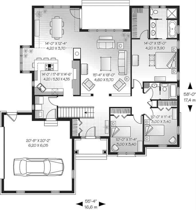 Main level floor plan of a single-story 3-bedroom ranch style home with front and rear porches, foyer, living room, kitchen, dining area, and laundry room leading to the garage.