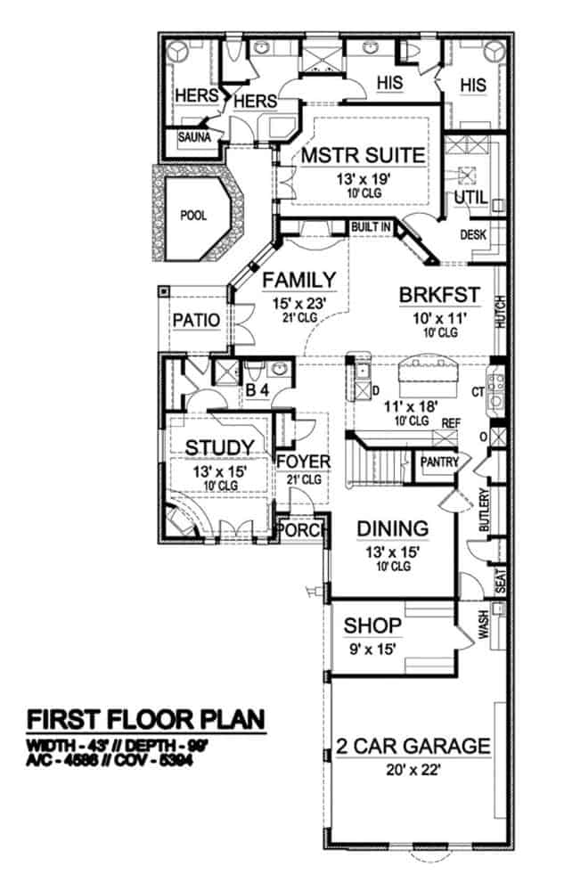 Main level floor plan of a two-story 3-bedroom chateau home with foyer, family room, breakfast nook, study, formal dining room, kitchen, primary suite, and garage with a workshop.