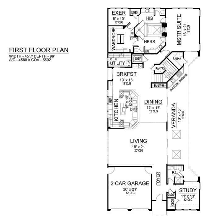 Main level floor plan of a two-story 3-bedroom modern home with foyer, living room, dining area, kitchen, breakfast nook, study, primary suite, and veranda with outdoor cooking and a sauna.