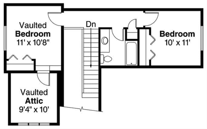 Second level floor plan with two bedrooms, a common bathroom, and a vaulted attic.