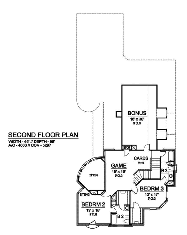 Second level floor plan with two bedrooms, a game room, and a bonus room.