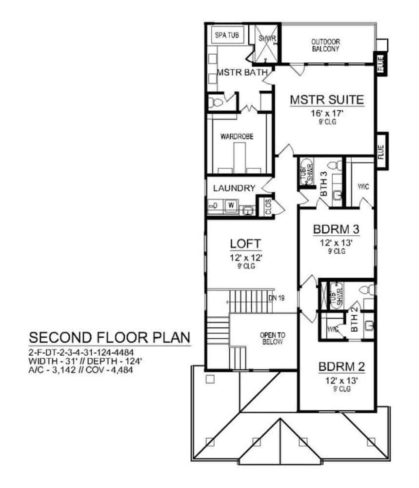 Second level floor plan with loft, laundry room, and three bedrooms including the primary suite with private balcony.