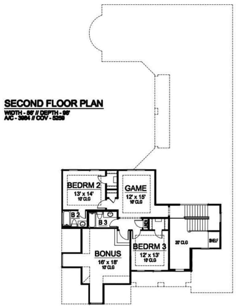 Second level floor plan with two bedrooms, two baths, a game room, and a bonus room.