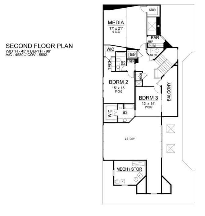 Second level floor plan with two bedroom suites and a media room complete with a wet bar.