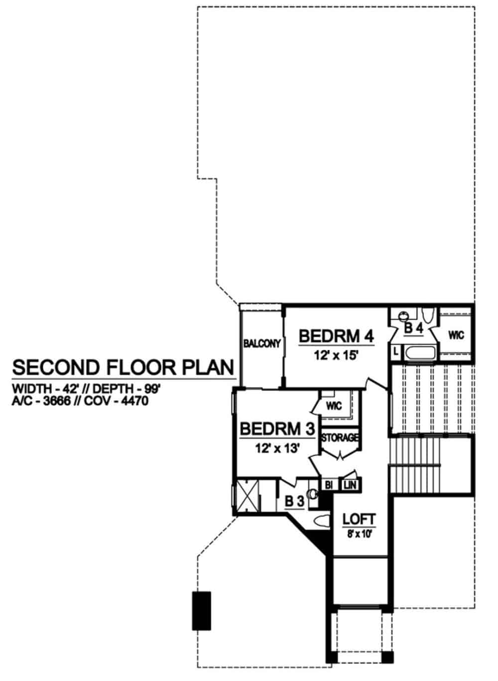 Second level floor plan with a loft and two bedroom suites.