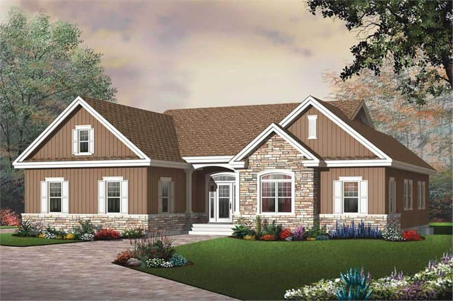 Front rendering of the single-story 3-bedroom ranch style home.