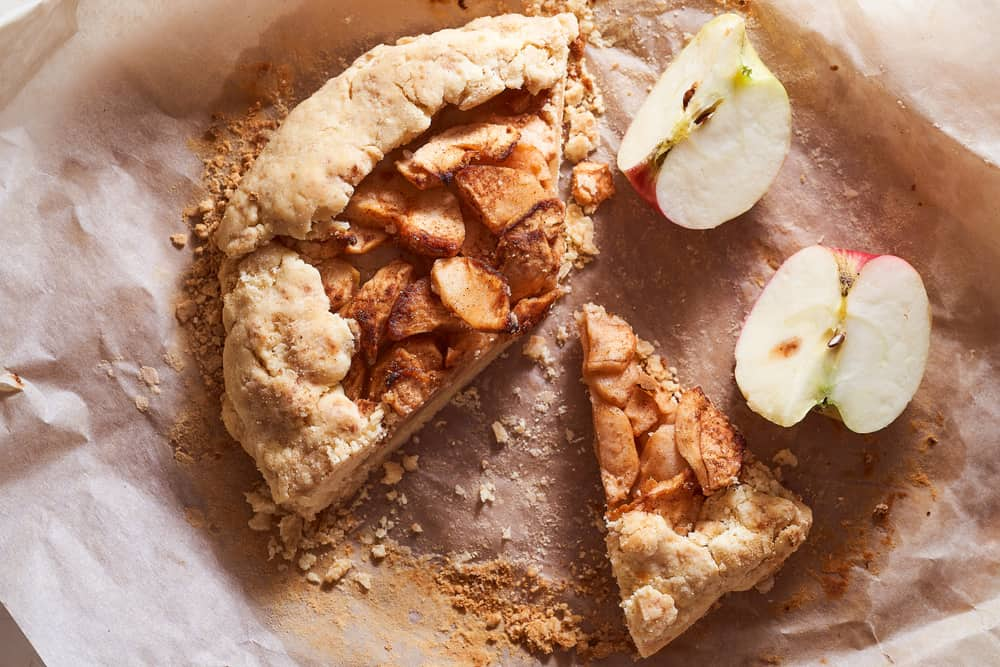 This is a close look at a sliced skillet apple pie biscuit.