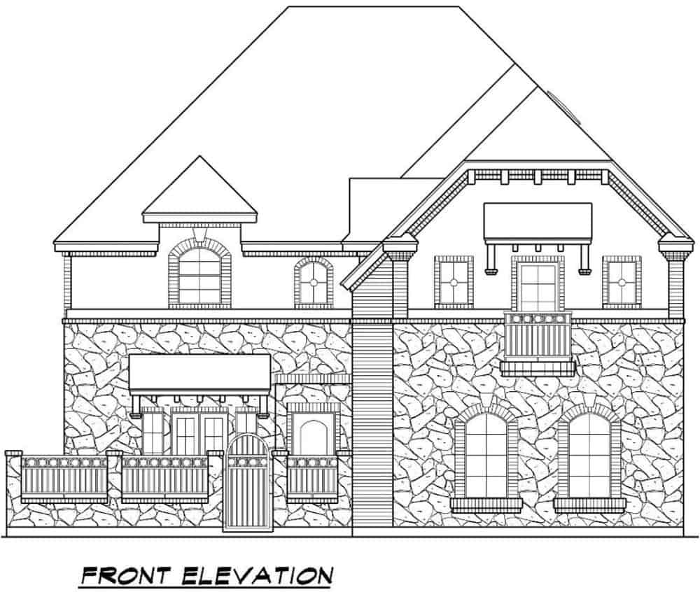 Front elevation sketch of the two-story 3-bedroom chateau home.