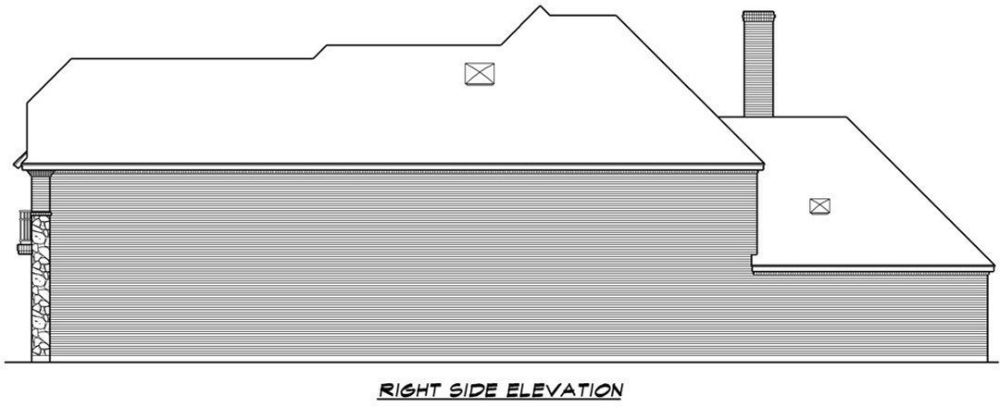 Right elevation sketch of the two-story 3-bedroom chateau home.