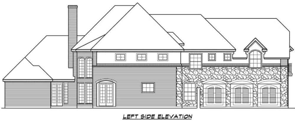 Left elevation sketch of the two-story 3-bedroom chateau home.