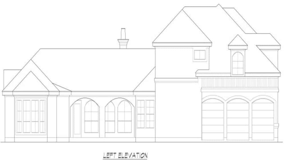 Left elevation sketch of the two-story 3-bedroom Mediterranean home.