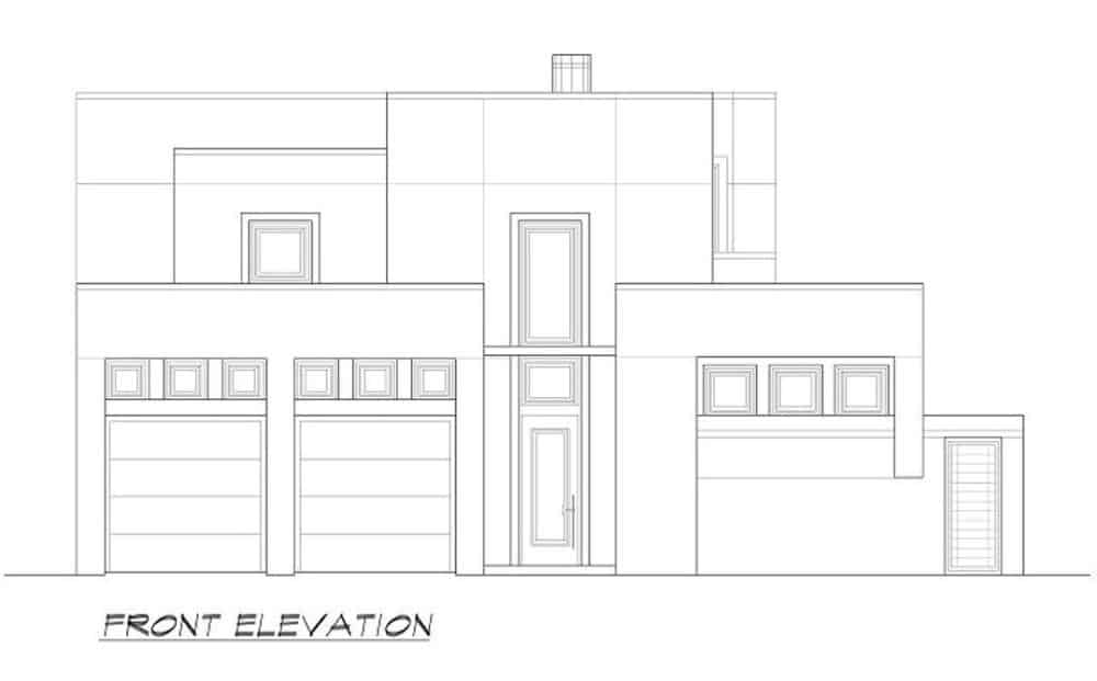 Front elevation sketch of the two-story 3-bedroom modern home.
