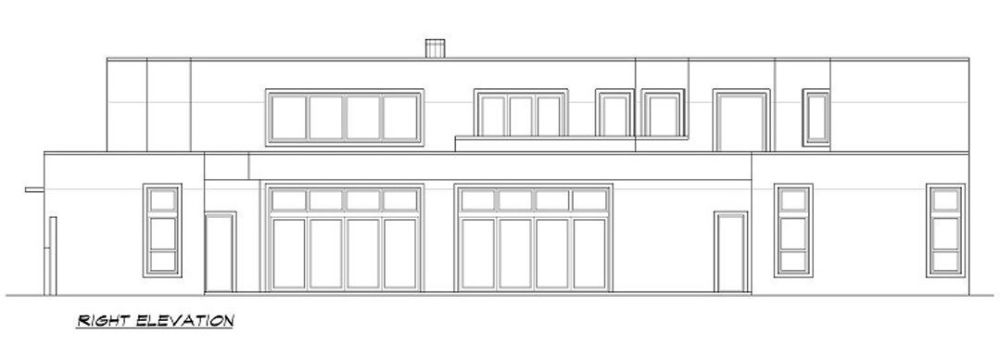 Right elevation sketch of the two-story 3-bedroom modern home.