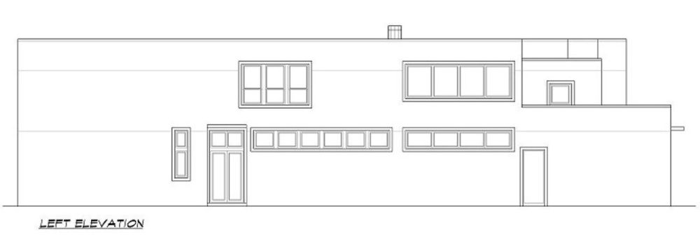 Left elevation sketch of the two-story 3-bedroom modern home.
