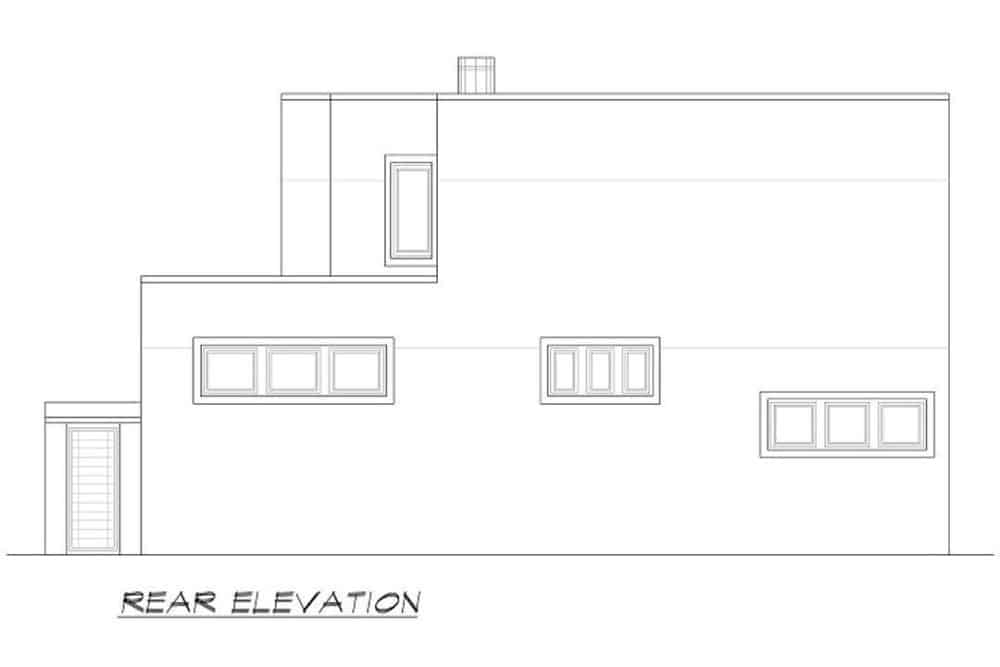 Rear elevation sketch of the two-story 3-bedroom modern home.