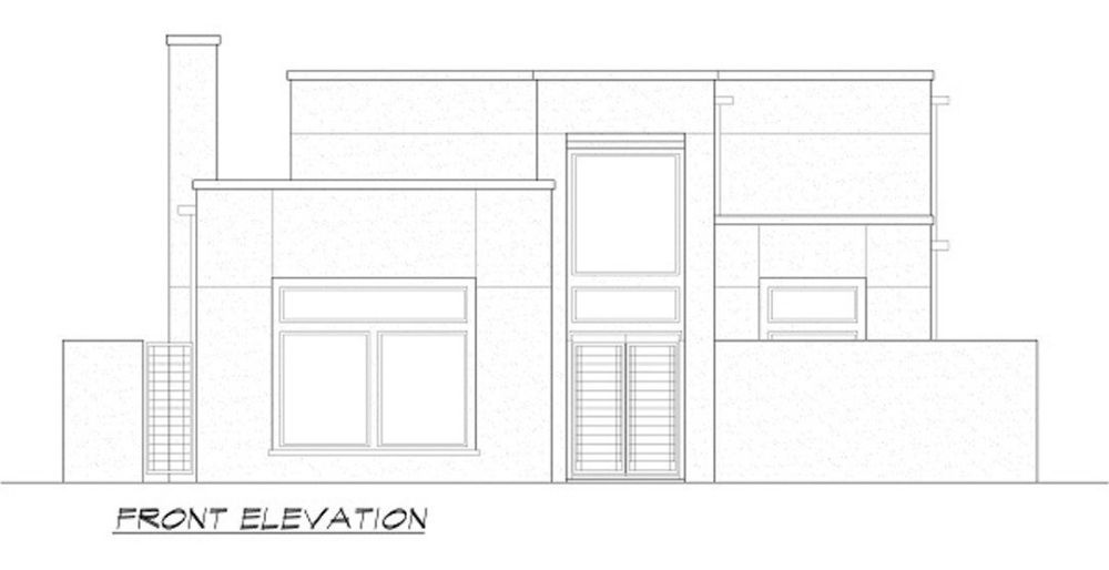Front elevation sketch of the two-story 4-bedroom contemporary home.