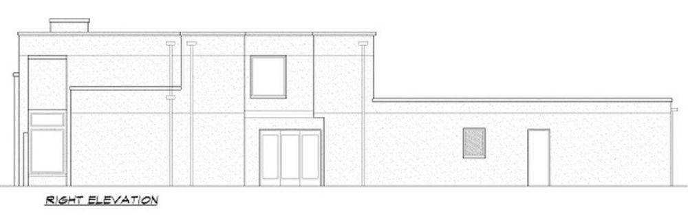 Right elevation sketch of the two-story 4-bedroom contemporary home.