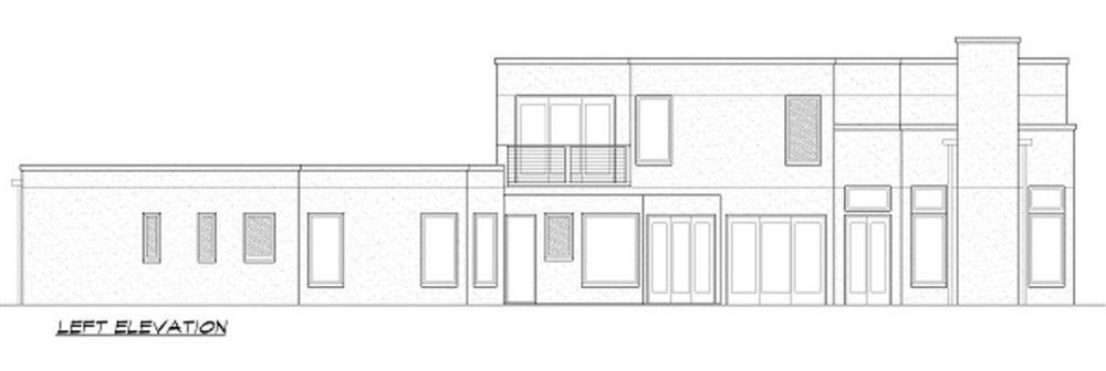 Left elevation sketch of the two-story 4-bedroom contemporary home.