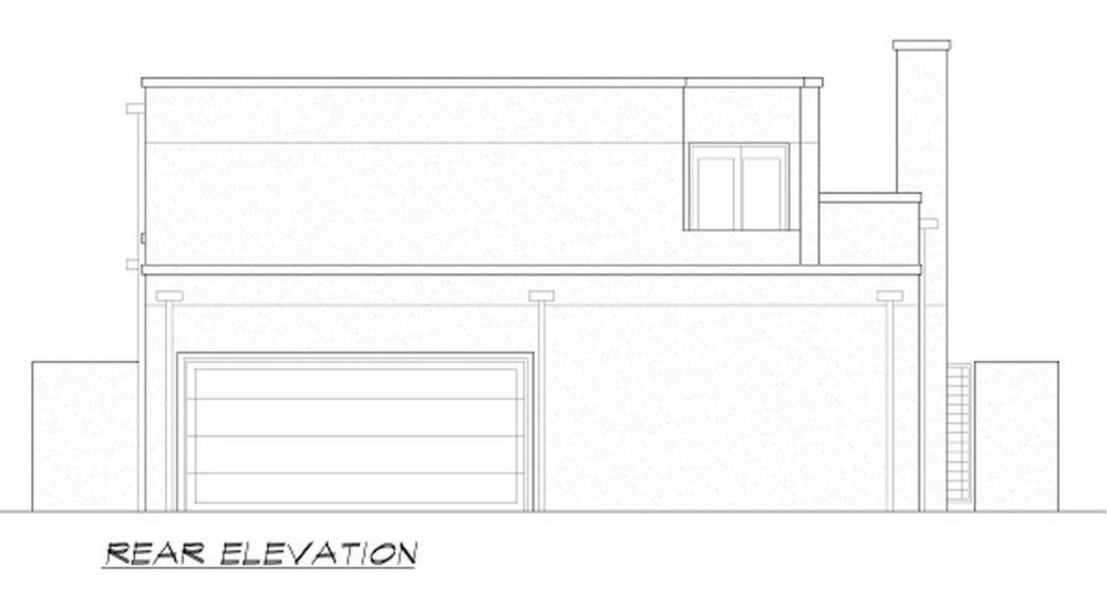 Rear elevation sketch of the two-story 4-bedroom contemporary home.