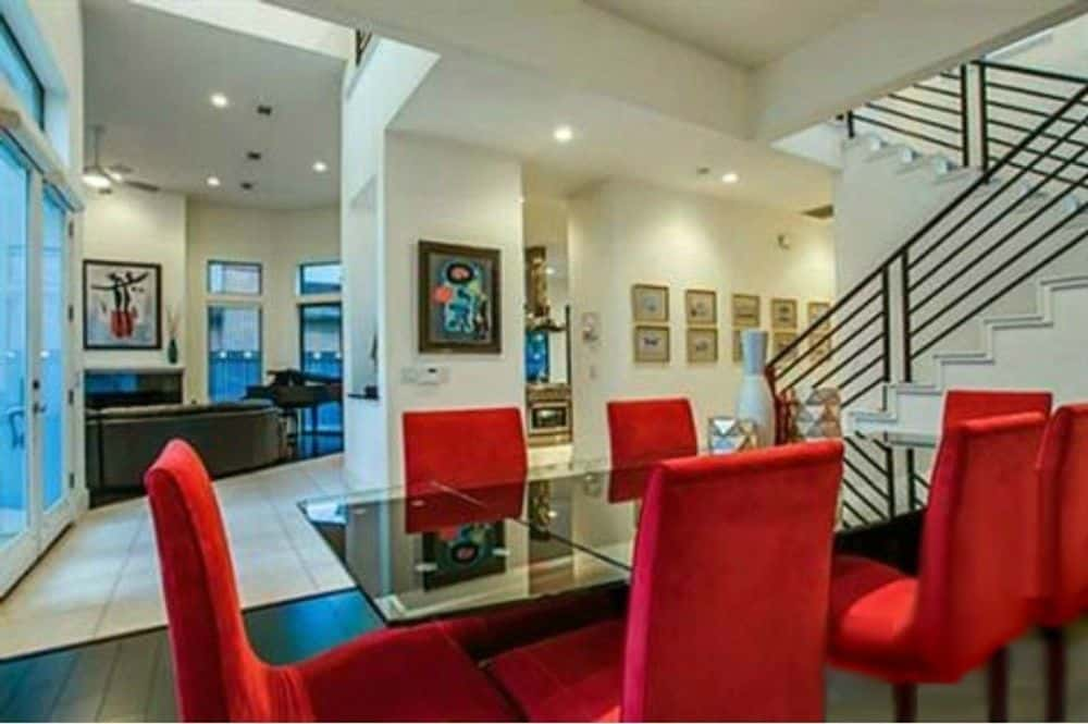 The formal dining room overlooks the living room.
