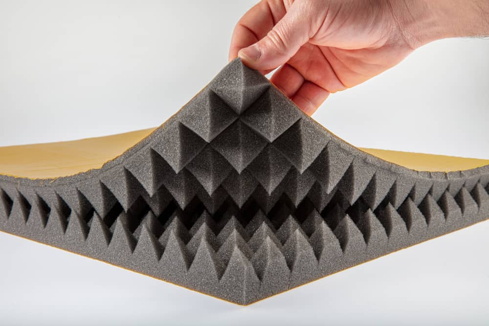 This is a close look at an acoustic sponge foam with two layers.