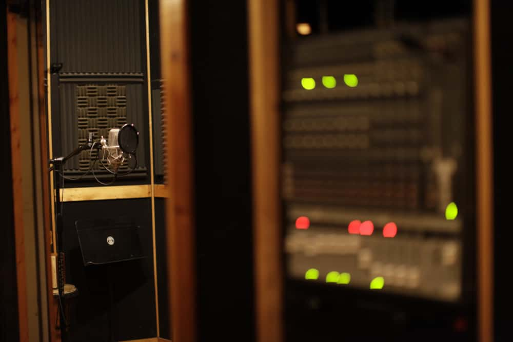 This is a close look at a professional recording studio.